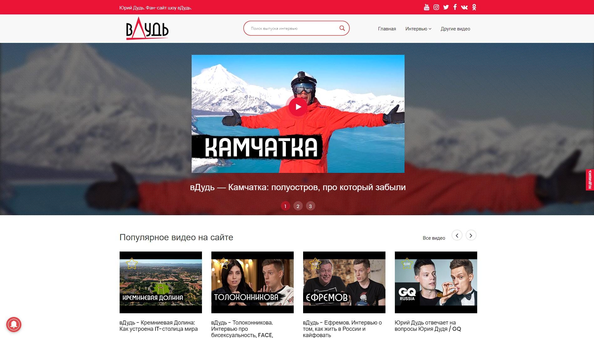 Сайт-портфолио Фан-сайт шоу вДудь