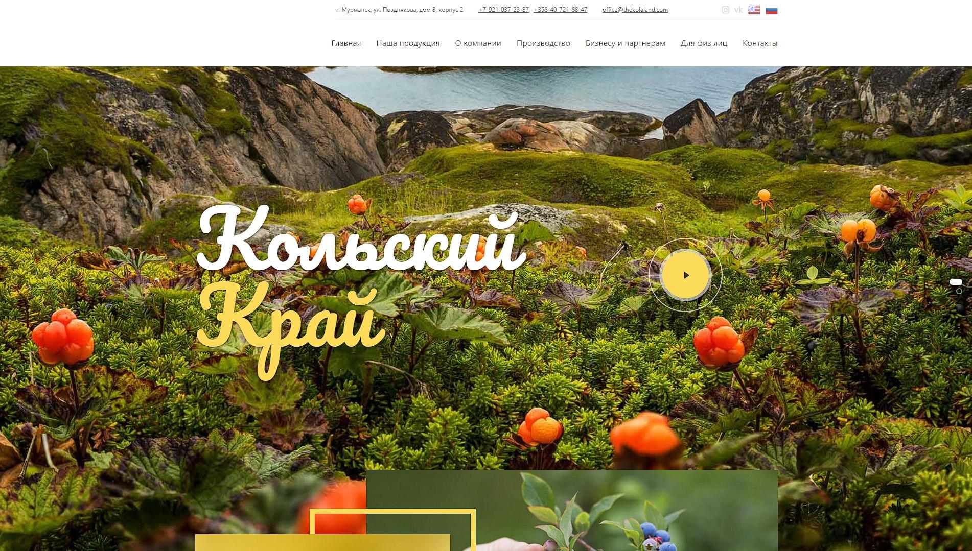 Корпоративные сайт Кольский край